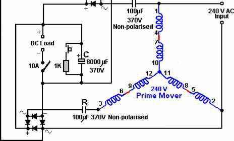 how to build a rotoverter generator free energy devices rh freeenergyplanet biz Voltage Regulator Wiring Diagram 3 Phase Generator Wiring Diagram